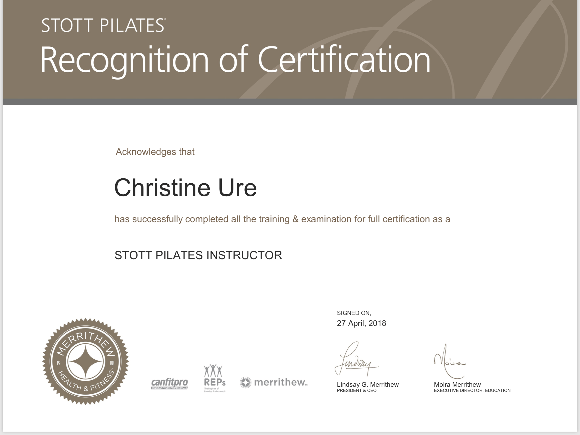 Fully Certified Stott Pilates Instructor